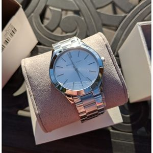 NWT Authentic Michael Kors Silver Runway Watch